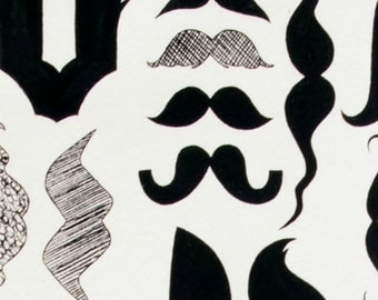 SALE - Alexander Henry - A Must Stache in Black / White