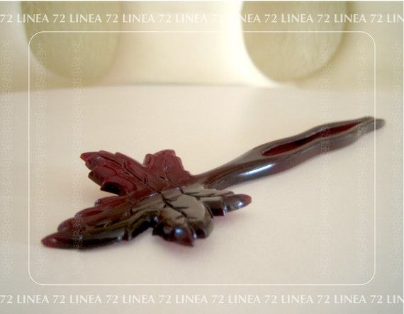 Red Maple Leaf Hair Comb in Semi Translucent Plastic