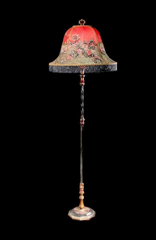 Antique Floor Lamp 1920s Asian Style Original Paint By