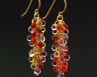 Hot Brights Shaggy Beaded Earrings Kit - Miyuki Glass Fringe Beads and Handmade Jump Rings and Ear Wires - Quick and Easy