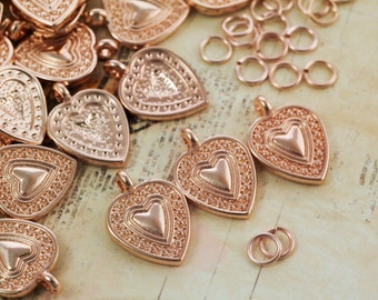 SALE - 5 Rose Gold Plated Heart in Heart Charms - 18mm X 13mm - Matching Jump Rings Included - 100% Guarantee