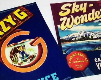 SALE - 2 Authentic Produce Labels, Lazy G, Sky Wonder, California, 1960s