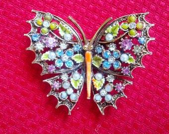 Vintage Multi Rhinestone Faux Pearl ART Butterfly Brooch Pin
