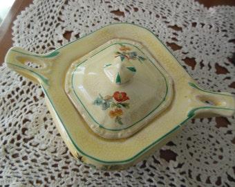 Vintage Yellow Sugar Bowl Lidded, Squat, Ceramic, Taylor, Smith and Taylor China Co