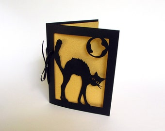 Halloween Cat Silhouette Greeting Card Cut Paper Art Black & Gold