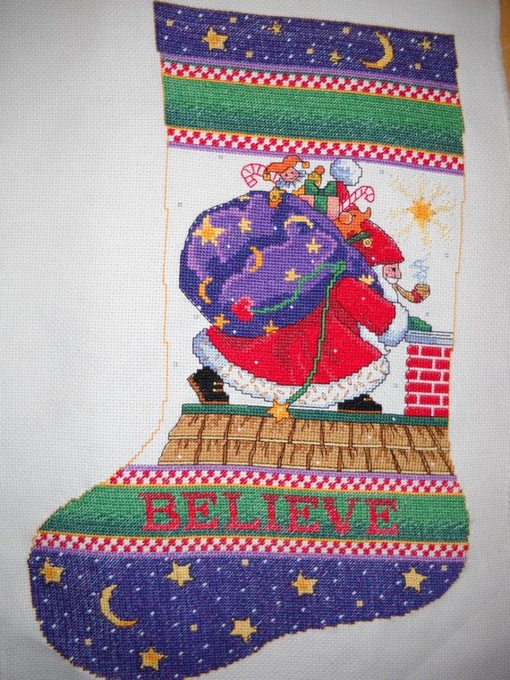 Completed cross stitch mary engelbreit christmas stocking