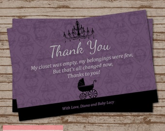 Purple and Black Baby Buggy Baby Shower Thank You Card