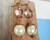 Copper Earrings, clear and ivory pearl, wire wrap earrings, wire wrap jewelry, antique, rustic pearl earrings (E121)