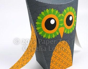 Halloween Owl - Editable Printable Gift Box - DIY PDF Party Favor
