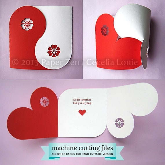 Valentine Collection (Yin Yang Card, Gift Box, Chipboard, Balls, Banner) SVG, DXF, PDF Machine Cuttable Files - no items will be shipped