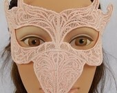 Pink flamingo embroidered lace raven bird mask