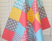 Baby Girl Blanket, Minky Blanket, Coral Crib Bedding, Nursery Decor, Baby Shower Gift, Coral Pink, Yellow, Aqua Blue and Gray Grey Chevron
