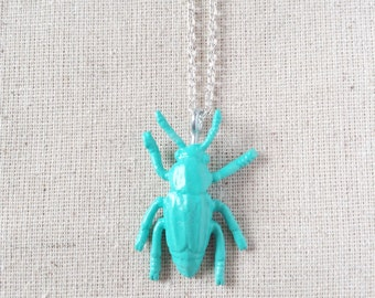 Toy Beatle Critter Necklace - Aqua