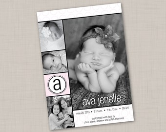 Pink & Black Candlewick Birth Announcement (GIRL) print your own