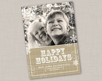 Classic Plaid Neutral Photo Holiday Card (Vertical)