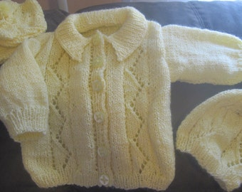CUSTOM KNIT 4 Piece Baby Girl/boy Sweater set. Size 0-3months,3-6 most, 6-12 mos.
