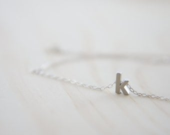"Silver Letter, Alphabet, Initial  ""k"" necklace, birthday gift, lucky charm, layered necklace"