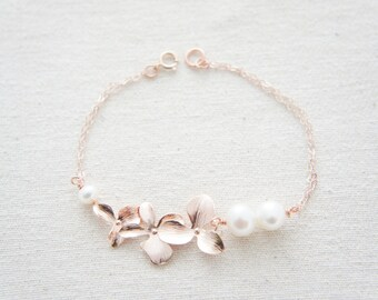 Rose gold triple orchid bracelet with pearls, wedding, bridesmaid, gift, anniversary