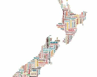 New Zealand Map Typography Map Color Poster Print Text Map
