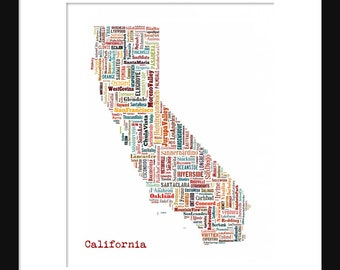 California Typography Map Color 2 Poster Print