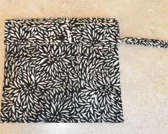 Dual Pocket Wetbag- Black and White Batik