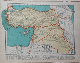 vintage 1941 map of Turkey, Syria and Iraq - gorgeous colors - double sided Palestine