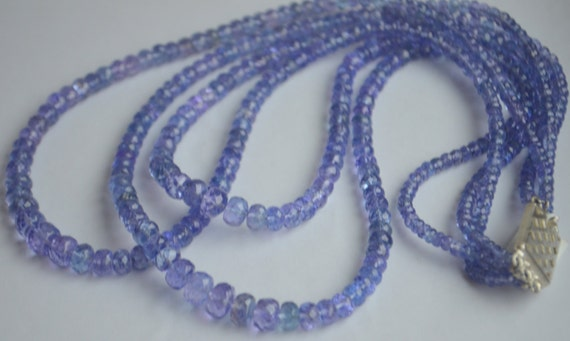 sale 17 inch strand of faceted tanzanite rondelles 357