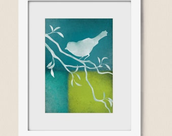 Bird on Branch Blue Green Home Decor 5 x 7 Wall Art Print, Turquoise (73)