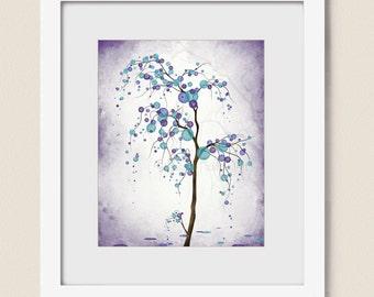 Purple Wall Art Aqua Home Decor, Abstract Tree Art Print, Polka Dots, 8 x 10 Living Room Tree Wall Decor (278)