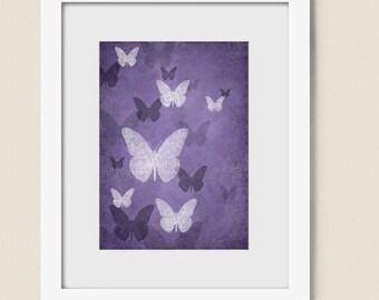 Deep Purple Nursery Wall Art for Girls Room, 5 x 7 Bathroom Butterfly Art Print for Home Decor  (154)