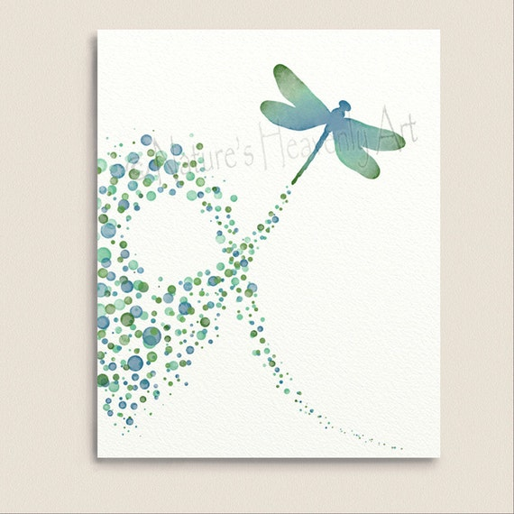 Turquoise Wall Decor Dragonfly Art Print 8 x 10, Polka Dot Pattern, Blue  Green
