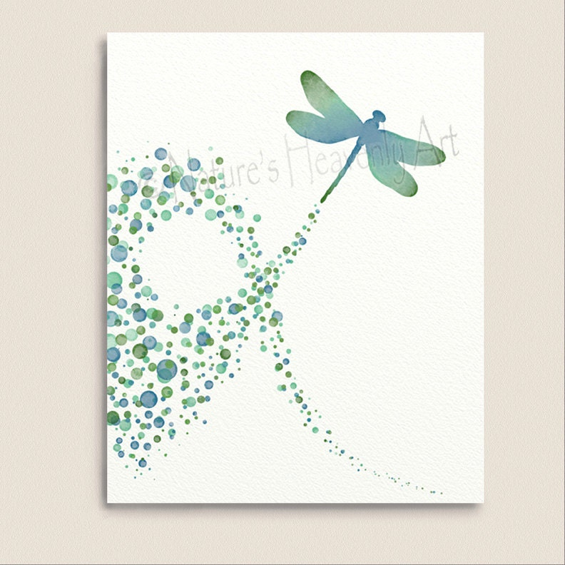 Turquoise wall decor dragonfly art print 8 x 10 polka dot for Dragonfly wall art