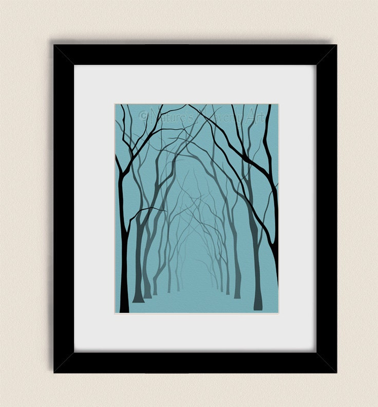 11 x 14 living room wall art tree art print blue green bare for Living room 11 x 14
