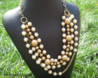 Bold and Gold, multistrand pearl necklace