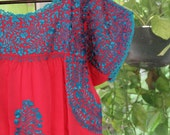 Pink with turquoise embroidery Mexixan Wedding Dress