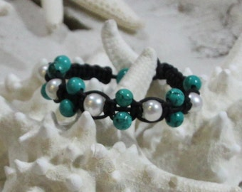 hand knotted leather and freshwater pearl bracelet and genuine turquoise
