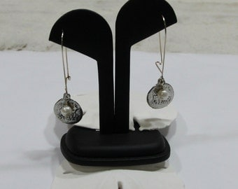 shipwreck coin and freshwater pearl earrings - simple and elegant