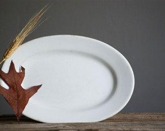 American Ironstone Platter, Greenwood Pottery, Porcelain Serving Plate, White Tableware, Thanksgiving Dinner, Minimalistic Decor, Antique