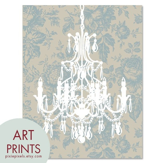 Rustic French Chandelier - Art Print (Featured in Slate Blue and French Grey) French Country Inspired (Customizable Colors)