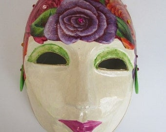 Multi-Colored Flower Paper Mache Venetian Mask with  Roses in Purple Pink Orange