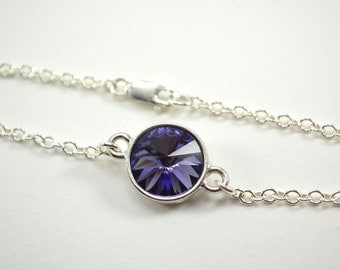 Sterling Silver and Purple Bracelet Swarovski Crystal Tanzanite Chain Bracelet