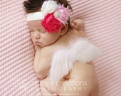 Sale Itty Bitty Newborn Baby Angel wings, baby feather wings in white Ready to ship. Great newborn photography prop