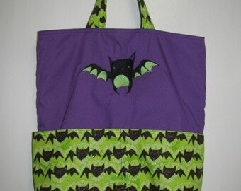 Cute Bat Purple and Lime Tote or Eco Friendly Purse Grocery or Shopping Bag