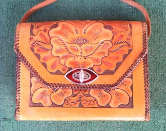 Golden Brown Vintage Mexican Tooled  Leather Purse