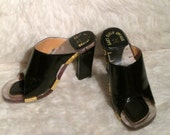 Patent Leather and Acrylic shoes, 1970's Pinup slide heels.  Gorgeous Saks Fifth Avenue Pumps, high heel shoes.  Made in Italy.   Size 5.5 B