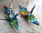 Unique Origami Crane Earrings –FREE SHIPPING– smiley face colorful recycled-upcycled-reclaimed-renewed-repurposed paper #e718 marlisa