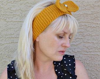 Knit headband with bow yellow mustard women headband gift under 20 womens gift