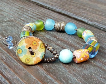 Flower Mixed Media Bracelet - Blue Recycled Glass Beads, Cane Glass Beads, Coco Discs, Flower Button