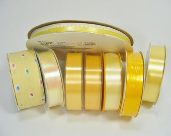 Yellow Ribbons and Trims YARDS and YARDS for your sewing and crafting