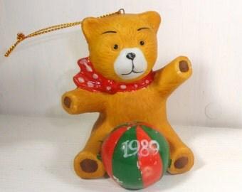 Vintage Christmas Ornament, Ceramic Bear with Ball, Christmas Decoration, Holiday Decor, 1989  (398-14)
